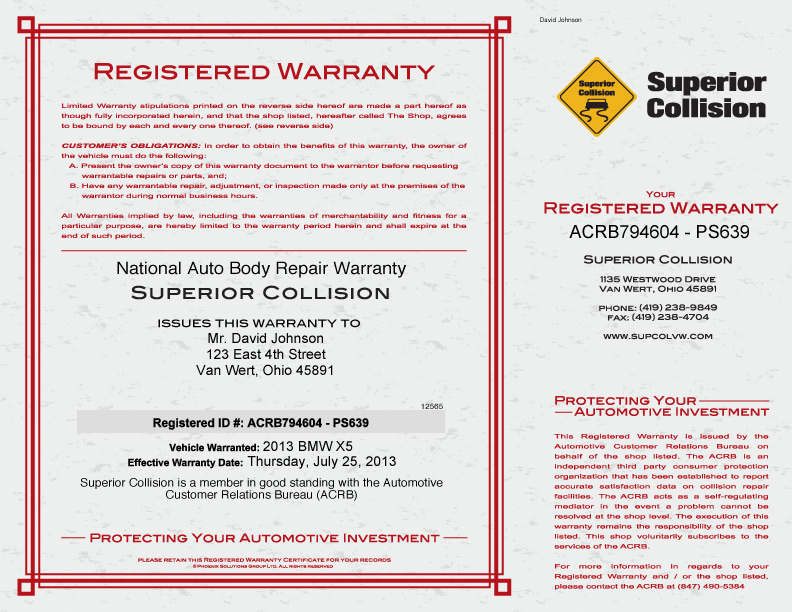 Registered Warranty